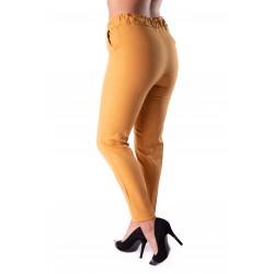 Pantaloni dama galbeni cu buzunare si snur