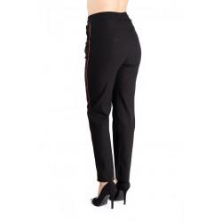 Pantaloni Marime Mare Negri Dunga Rosie Amalia