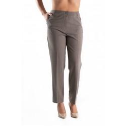 Pantaloni Eleganti Crem in Carouri, Masura Mare din Stofa