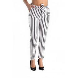 Pantaloni Albi cu Dungi Negre Hazel