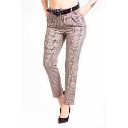 Pantaloni eleganti dama Dody crem carouri
