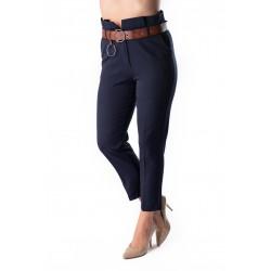 Pantaloni Dama Bleomarin Eleganti Conici Cu Talie Inalta Din Stofa Usor Elastica Cu Buzunare  Eden