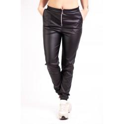 Pantaloni Negri Din Piele Ecologica Ava