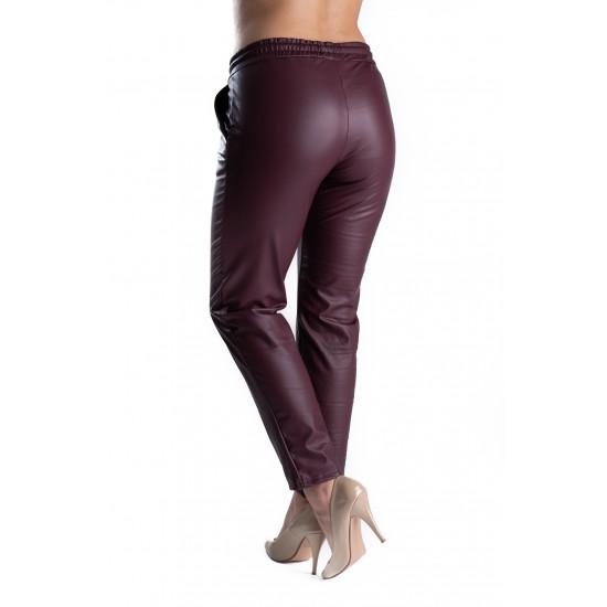 Pantaloni Piele Ecologica Grena Vatuiti Gen Boyfriend Rihanna