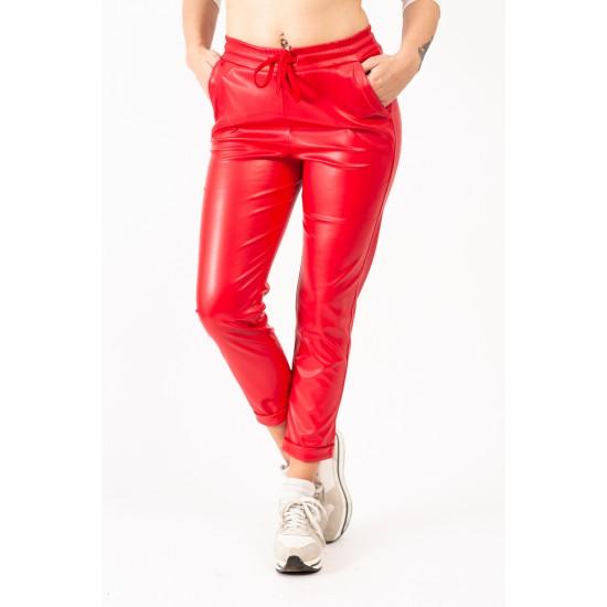 Pantaloni Rosii Din Piele Ecologica Gen Boyfriend