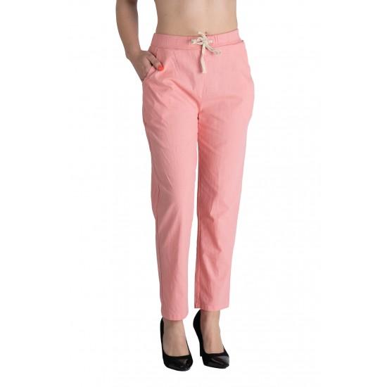 Pantaloni Dama Din Panza Topita Bumbac Cu Siret In Talie, Roz