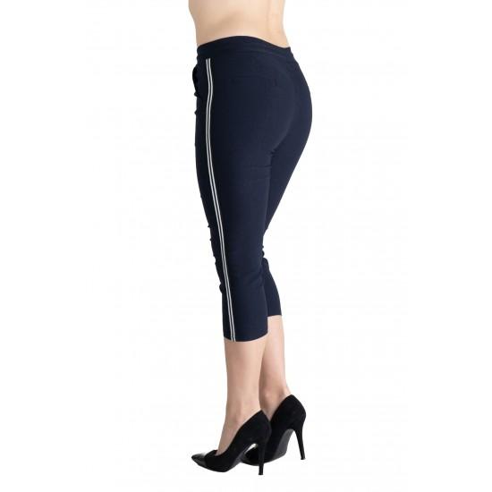 Pantaloni Dama Masura Mare Trei Sferturi 3/4, Bleumarin ,Cu Vipusca