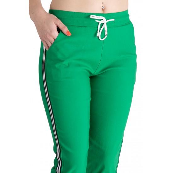 Pantaloni Dama Masura Mare Trei Sferturi 3/4, Verde,Cu Vipusca