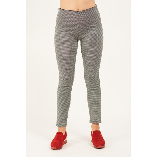 Pantaloni Dama Negru Alb cu fermoar lateral