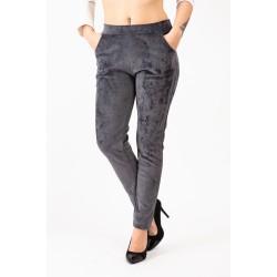 Pantaloni catifea gri cu vipusca argintie