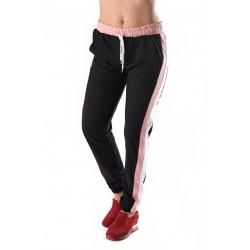 Pantaloni Trening Negri Cu Dungi Roz Si Albe Noisy