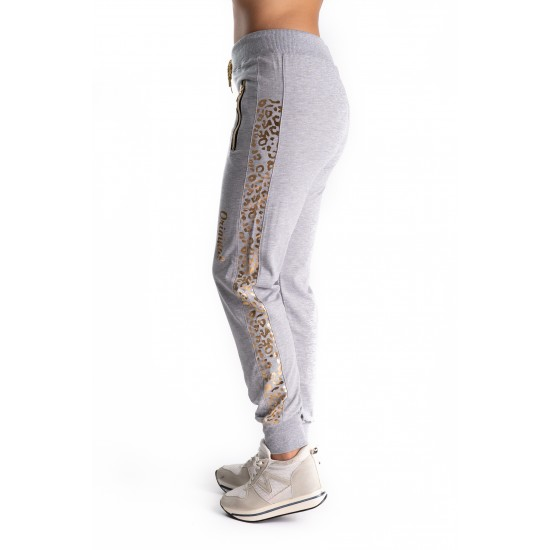 Pantaloni Trening Gri Cu Dunga Aurie Animal Print Delilah