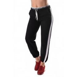 Pantaloni Trening Negri Cu Dunga Alba Nicole